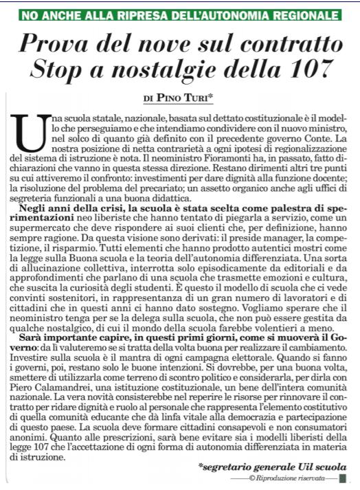 Turi su Italia Oggi: prova del nove sul contratto. Stop a nostalgie della 107.