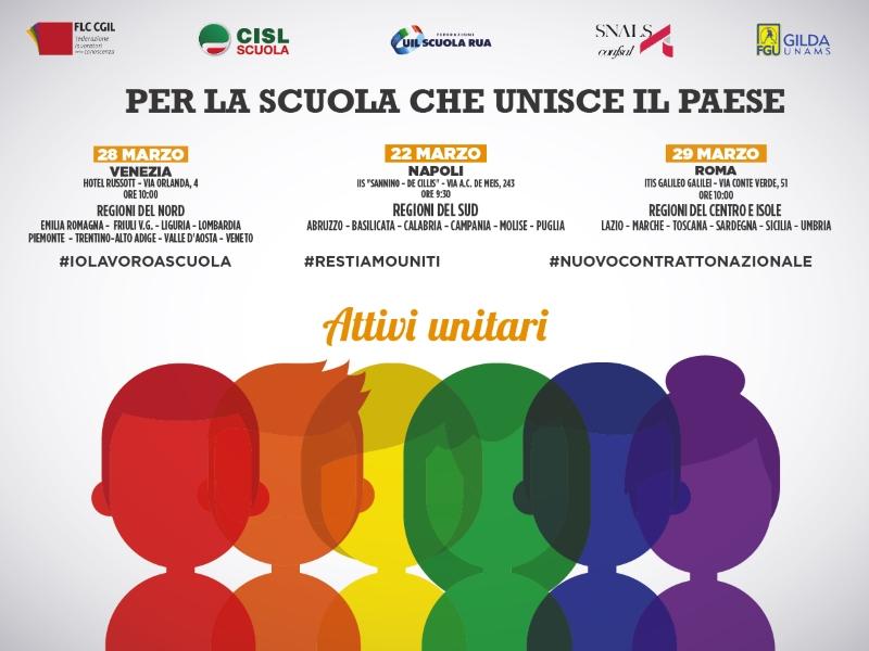 Mobilitazione dei sindacati scuola, attivi unitari a Napoli, Venezia e Roma