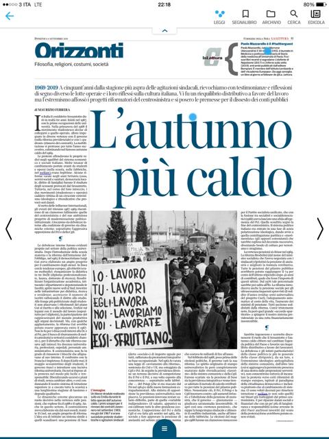 Corriere della Sera / La Lettura / Orizzonti >>> L'autunno più caldo