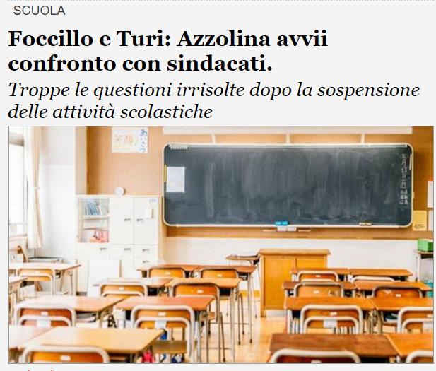 Foccillo e Turi: Azzolina avvii confronto con sindacati.
