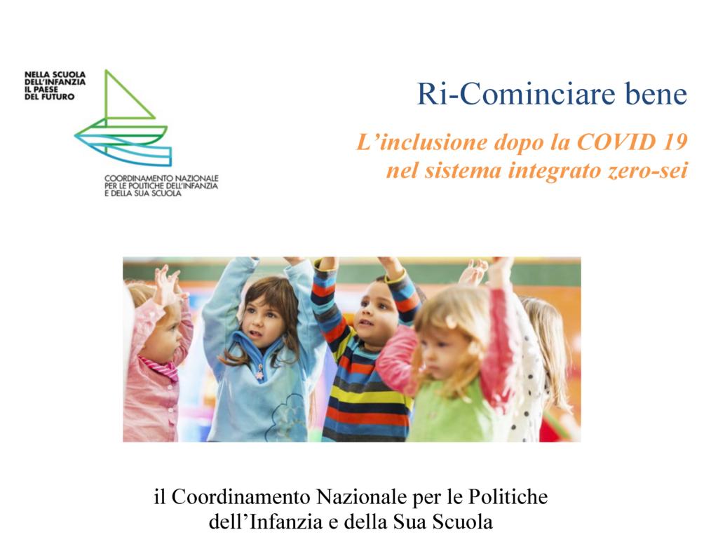 RI-COMINCIARE BENE PARTENDO DAI PIÙ PICCOLI >>> 2° webinar
