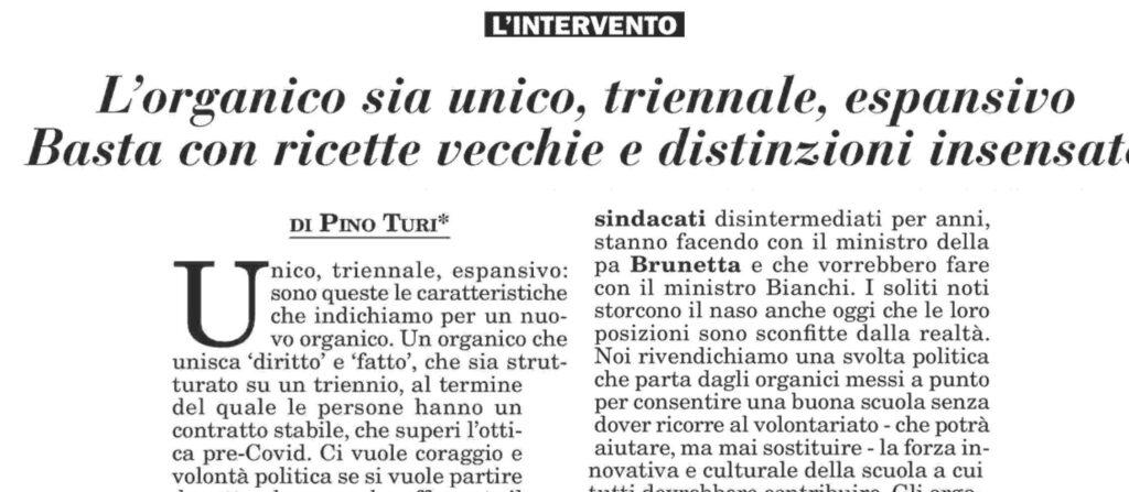 Italia Oggi / Turi: l'organico sia unico, triennale, espansivo. Basta con ricette vecchie.