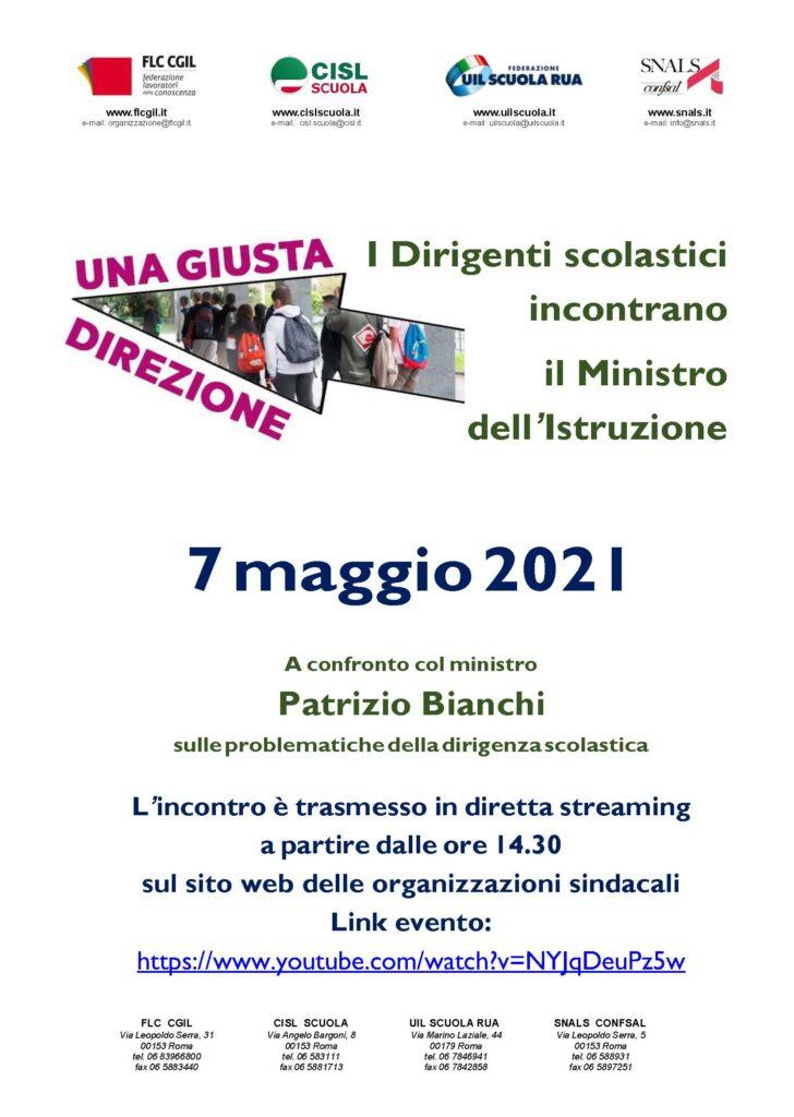 Domani incontro dirigenti scolastici – ministro Bianchi